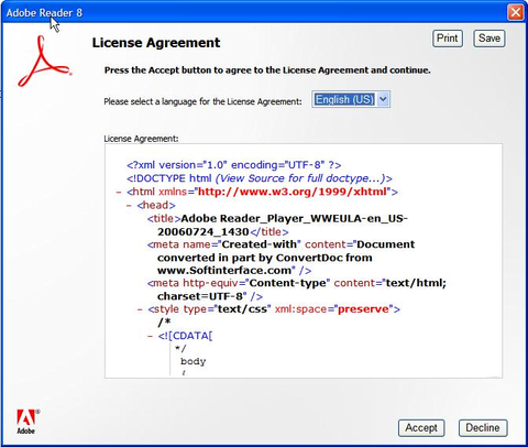 Adobe Reader 8 license agreement showing HTML code.