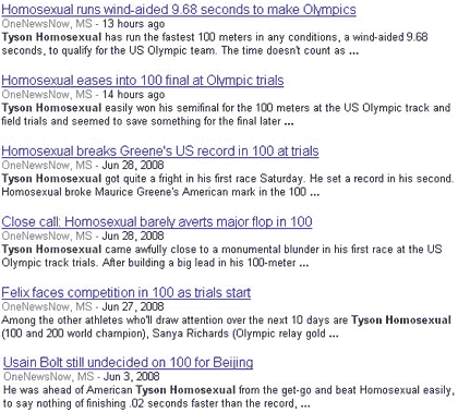 Screenshot showing Tyson Homosexual instead of Tyson Gay.